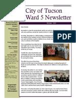 Tucson Vice Mayor Richard Fimbres - Ward 5 Newsletter - October 2018
