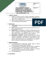 P-Ai-006 Procedimiento Manejo, Conservacion y Control de Existencias de Medicamentos Estupefacientes y Psicotropicos de La Fraccion i y II de La Lgs