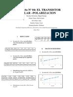 Informe Final 4:EL TRANSISTOR BIPOLAR –POLARIZACION