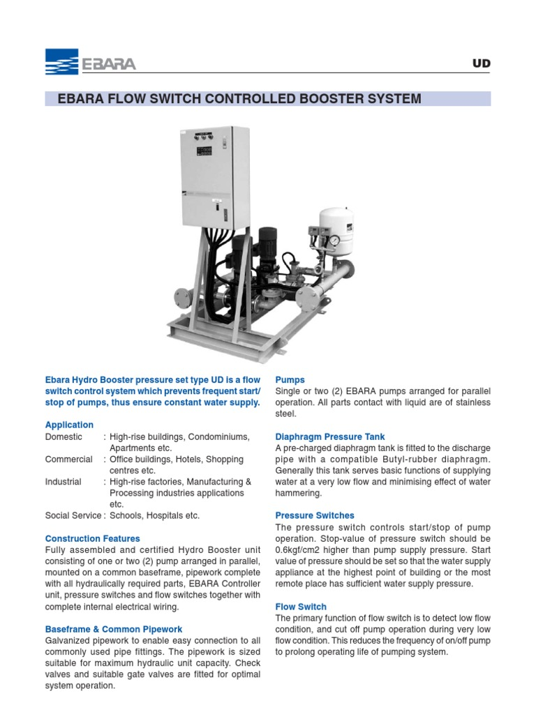 Ebara Flow Switch Controlled Booster System