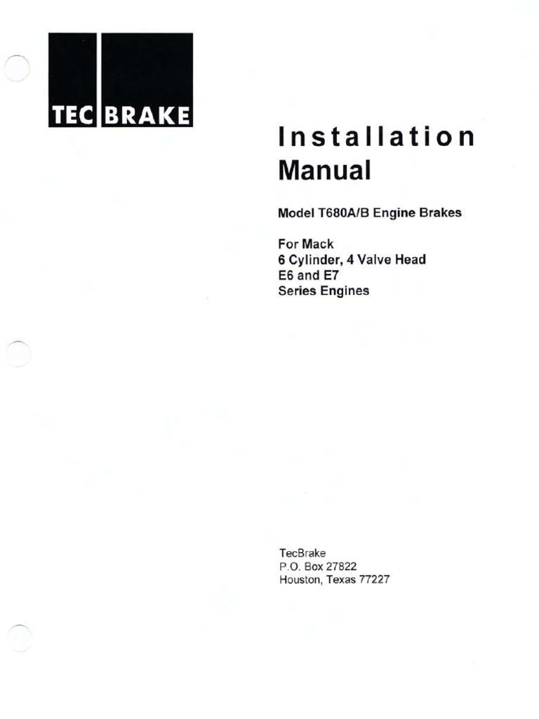 Install Manual T680AB Mack 6cyl 4VH E6 E7 Series