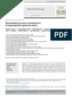 Recomendaciones Para El Manejo de La Faringoamigdalitis Aguda Del Adulto