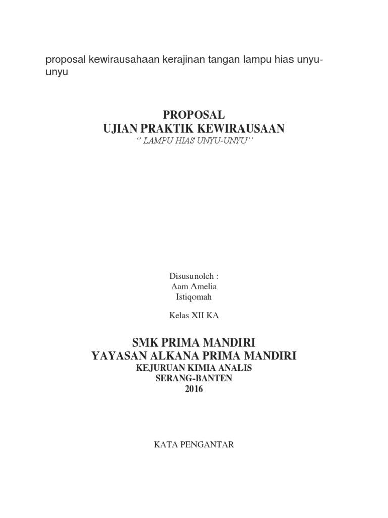Proposal Kewirausahaan Kerajinan Tangan Lampu Hias Unyu