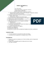 TEMARIO MATEMÁTICA 8