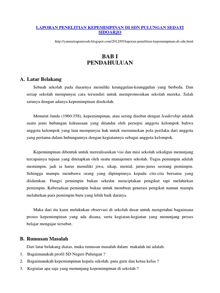 Laporan Penelitian Kepemimpinan Di Sdn Pulungan Sedati Sidoarjo
