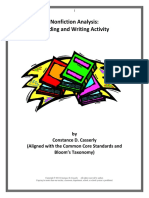 Comprehension Activity Nonfiction Reading and Writing Analysis