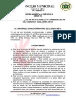 ACUERDO N°  005 POR MEDIO DEL CUAL SE INSTITUCIONALIZA Y CONMEMORA EL DIA DEL CAMPESINO DE LEJANIAS, META.