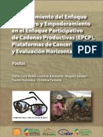 Fortalecimiento del enfoque de genero y empoderamiento en el enfoque participativo de cadenas productivas (EPCP), plataformas de concertacion y evaluacion horizontal. Pautas