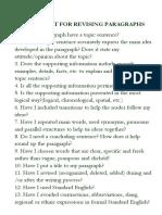 Checklist for Paragraphs