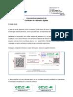 Comunicado Sobre Certificados Electronicos