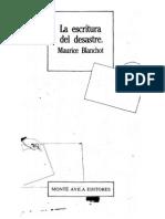 Blanchot, Maurice - La Escritura Del Desastre