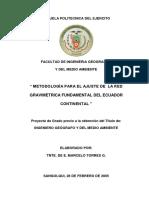 Metodología Para El Ajuste de La Red Gravimetrica Fundamental Del Ecuador Continental