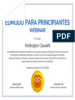 Certificate for Wellington Claudett for Certificado - Edmodo Para Principiantes Webinar