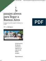 Crecen Las Reservas de Pasajes Aéreos Para Llegar a Buenos Aires