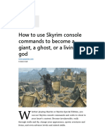 How to use Skyrim console commands to become a giant, a ghost, .pdf