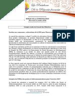 Compte-rendu Du Conseil Des Ministres - 31 Octobre
