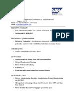 SAP Associate PP consultant CV