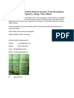 (T-sel) 0812-5690-8404 Macam-macam Tinta Percetakan, Kegunaan Tinta Pigment, Harga Tinta Offset.