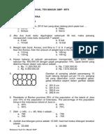 Contoh soal tes masuk SMP matematika.