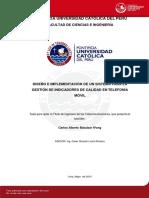 Diseño e impliementacion de un sistema para la gestion de indicadores de calidad en telefonia movil