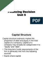 Unit 5 Financing Decision