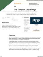 Experiment- Transistor Circuit Design