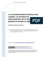 Esteban Ezequiel Maito (2013). La Transitoriedad Historica Del Capital. La Tendencia Descendente de La Tasa de Ganancia Desde El Siglo XIX