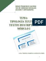 Clase Tipologías Textual. Textos Descriptivos Módulo i Ciclo II 2018 g06