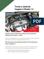 Aprenda a Trocar a Junta Do Cabeçote Peugeot e Citroën 1