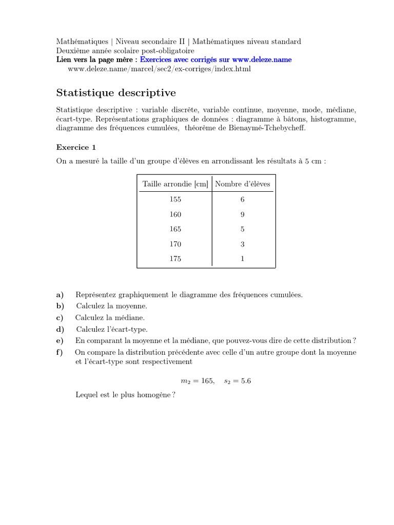 Statistique S Statistique Descriptive Ecart Type