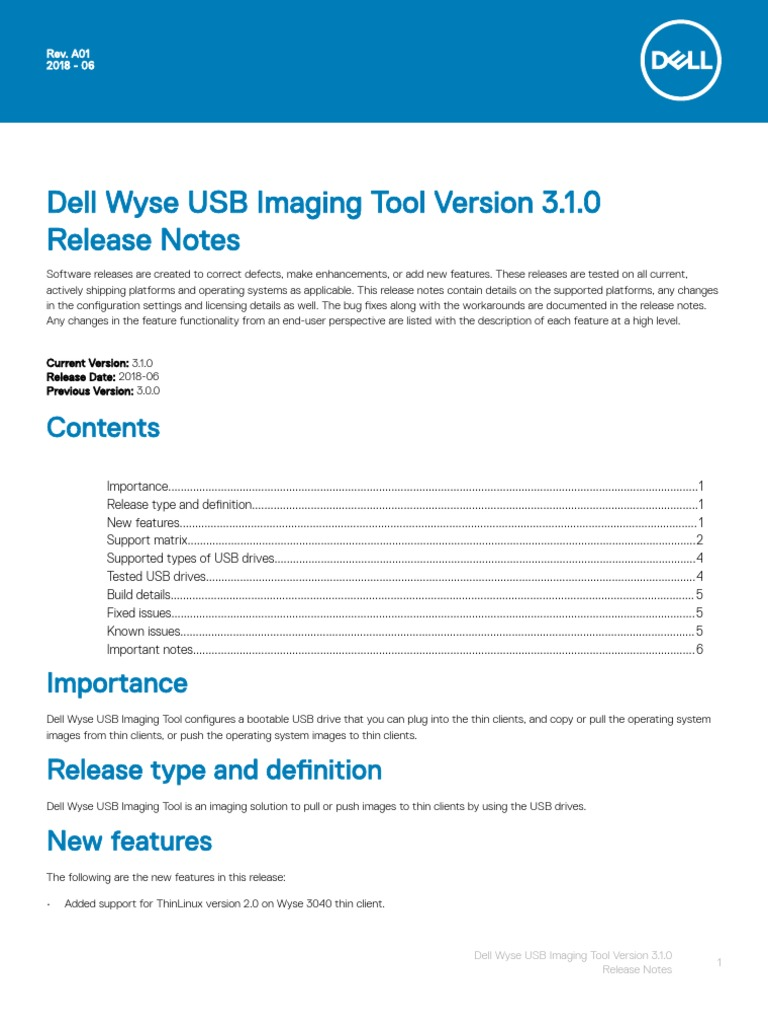 Dell Wyse USB Imaging Tool v3 1 0 Release Notes V2 | Usb Flash Drive