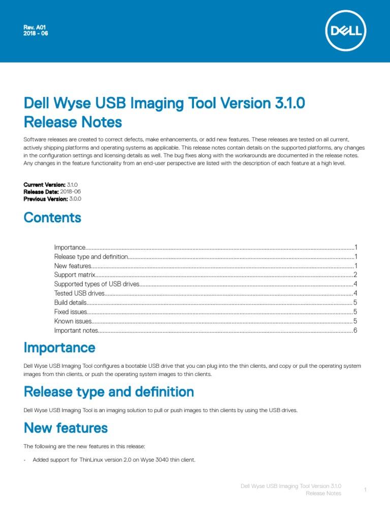 Dell Wyse USB Imaging Tool v3 1 0 Release Notes V2   Usb