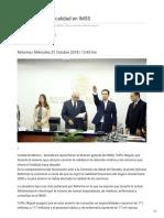 01/Noviembre/2018 Critican caída de calidad en IMSS