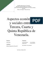 Aspectos sociales y economicos de la tercera cuarta y quinta republica