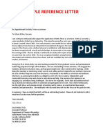 Sample Reference Letter