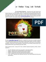 Strategi Poker Online Uang Asli Terbaik Indonesia