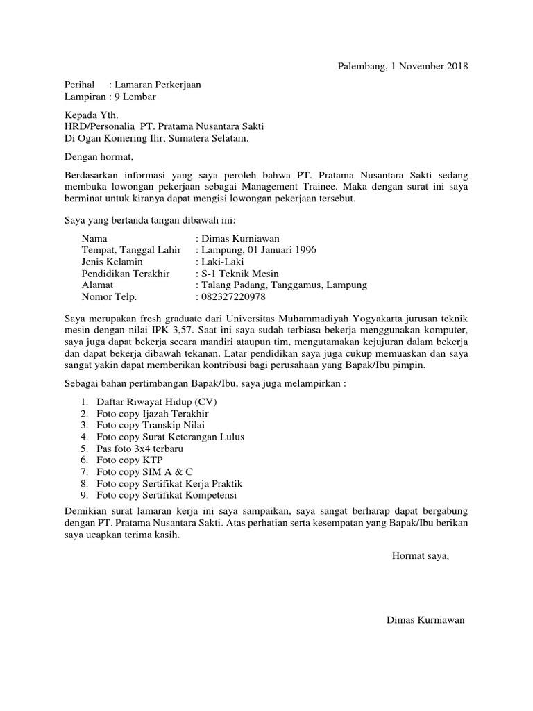 Surat Lamaran Nusantara Sakti