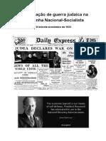 A Declaração de Guerra Judaica Na Alemanha NS - O Boicote de 1933