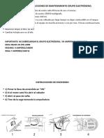 Instrucciones de Mantenimiento Grupo Electrógeno