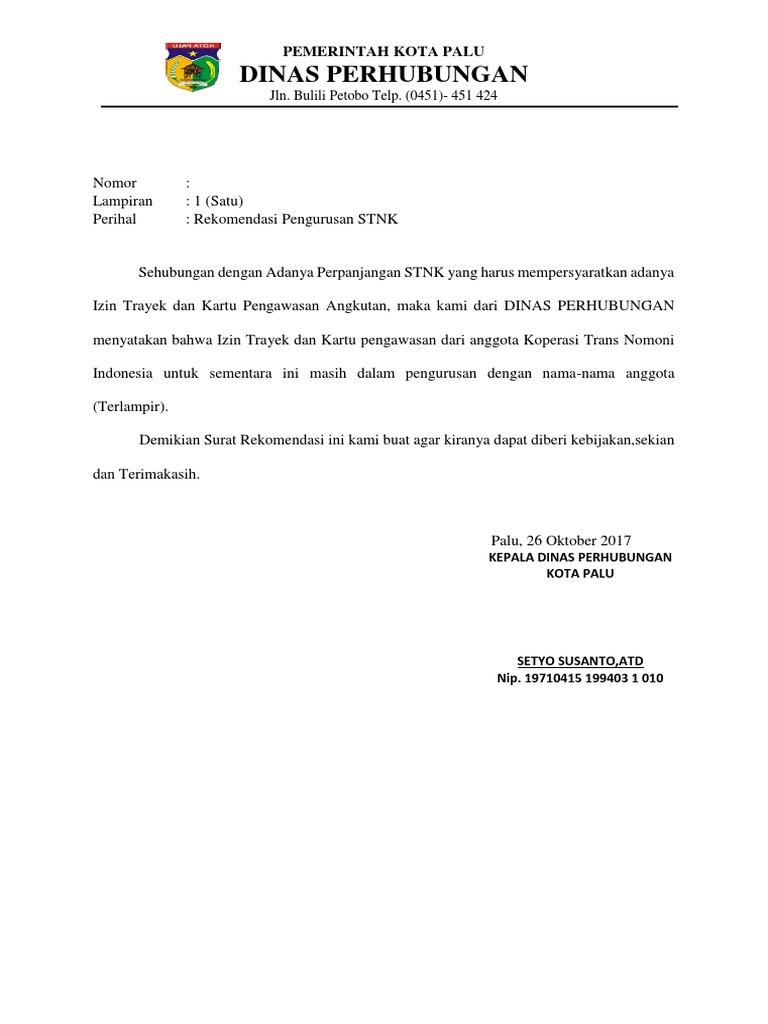 Surat Rekomendasi Dishub