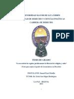 La Necesidad de Regular Jurídicamente La Libertad de Religión y Culto