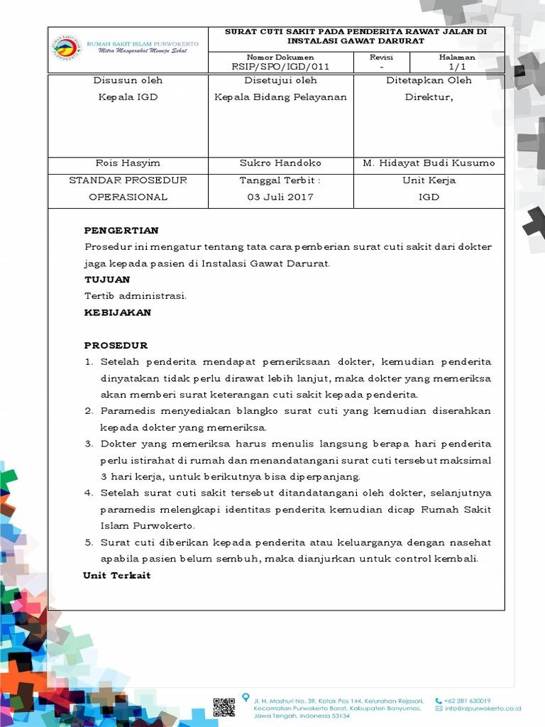 Spo011 Surat Cuti Sakit Pada Penderita Rawat Jalan Di