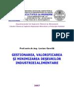 Gestionarea, Valorificarea Si Minimizarea Deseurilor Din Industria Alimentara