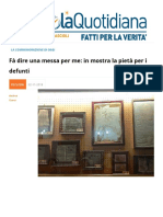 """""""Fa' Dire Una Messa Per Me"""". in Mostra La Pietà Per i Defunti"""