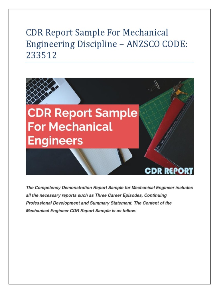 cdr report sample for mechanical engineering discipline mechanical
