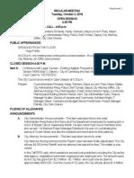 Regular Meeting Minutes October 2, 2018 11-05-18