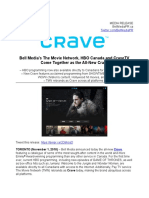 Bell Media's The Movie Network, HBO Canada and CraveTV Come Together as the All-New Crave