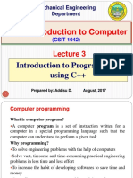 Lecture 3. Introduction to Programming using C++