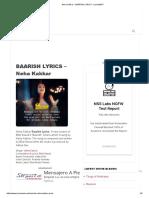 Neha Kakkar - Baarish Lyrics - Lyricsmint