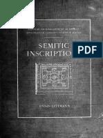 Semitic Inscriptions by Enno Littmann
